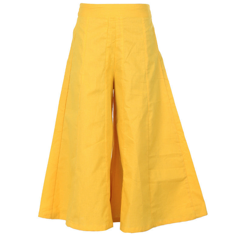 eSTYLe Girls Daffodil Yellow Colour Pure Cotton Simply Crazy Palazzo Pant