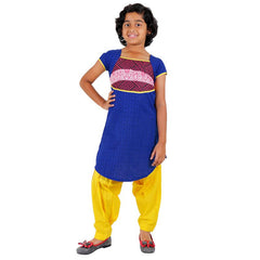 eSTYLe Blue Printed Cotton Kurta With U Cut Hemline