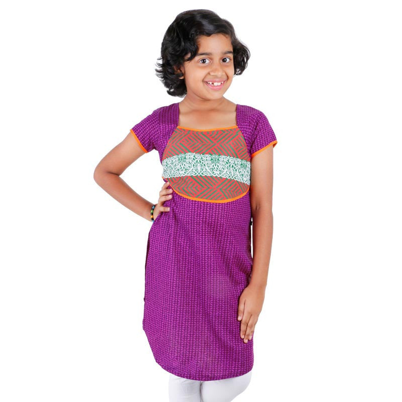 Grape Wine Printed Cotton Kurta With U Cut Hemline