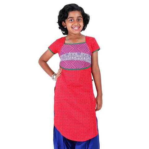 Bright Red Girls Printed Cotton Kurta With U Cut Hemline