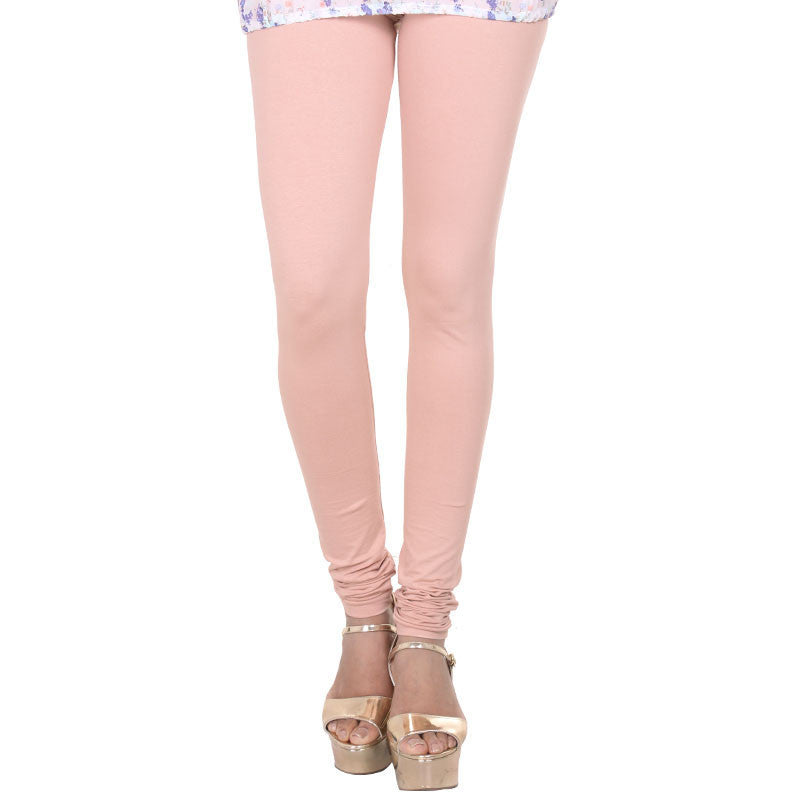 Pale Blush Peach Lycra Cotton Fashion Leggings From eSTYLe
