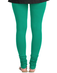 Marine Green Cotton Lycra Churidhar Leggings