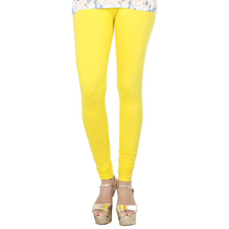 eSTYLe Empire Yellow Colour Lycra Cotton Astonishing Leggings