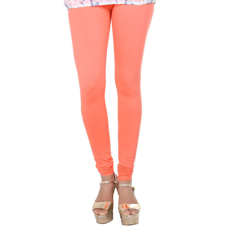 eSTYLe Fusion Coral Pink Colour Pure Lycra Cotton Leggings