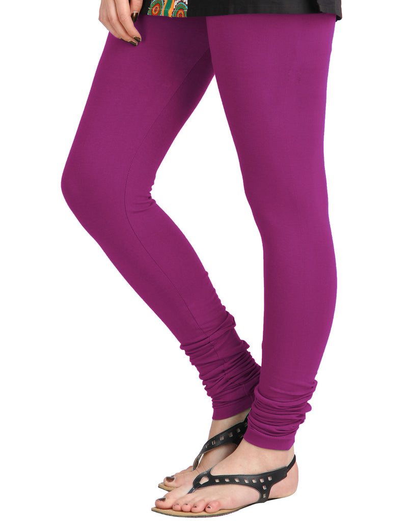 Vivid Viola Cotton Lycra Churidhar Leggings