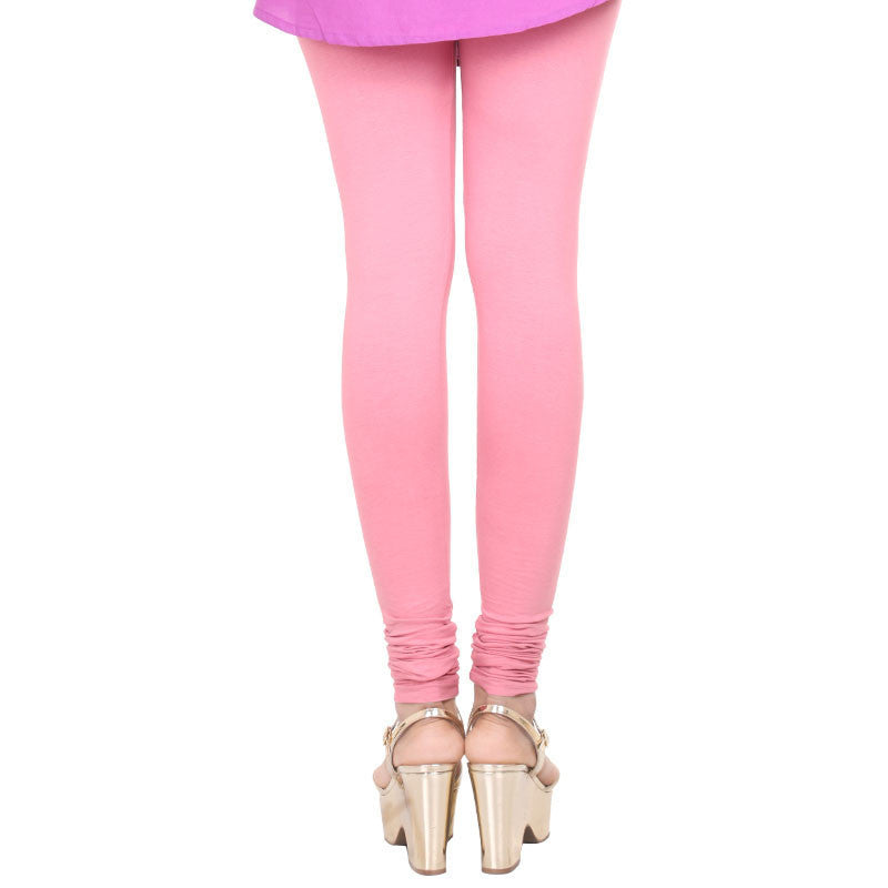 MauveGlow Pink Pure Lycra Cotton Contrast Leggings From eSTYLe