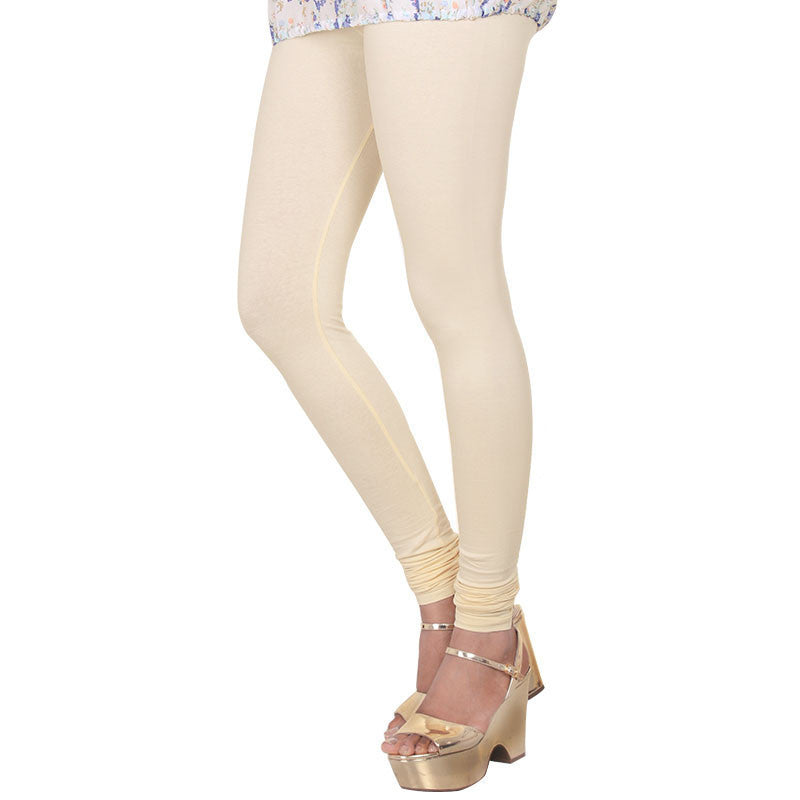 Cloud Cream Beige Colour Lycra Cotton Stylish Leggings From eSTYLe