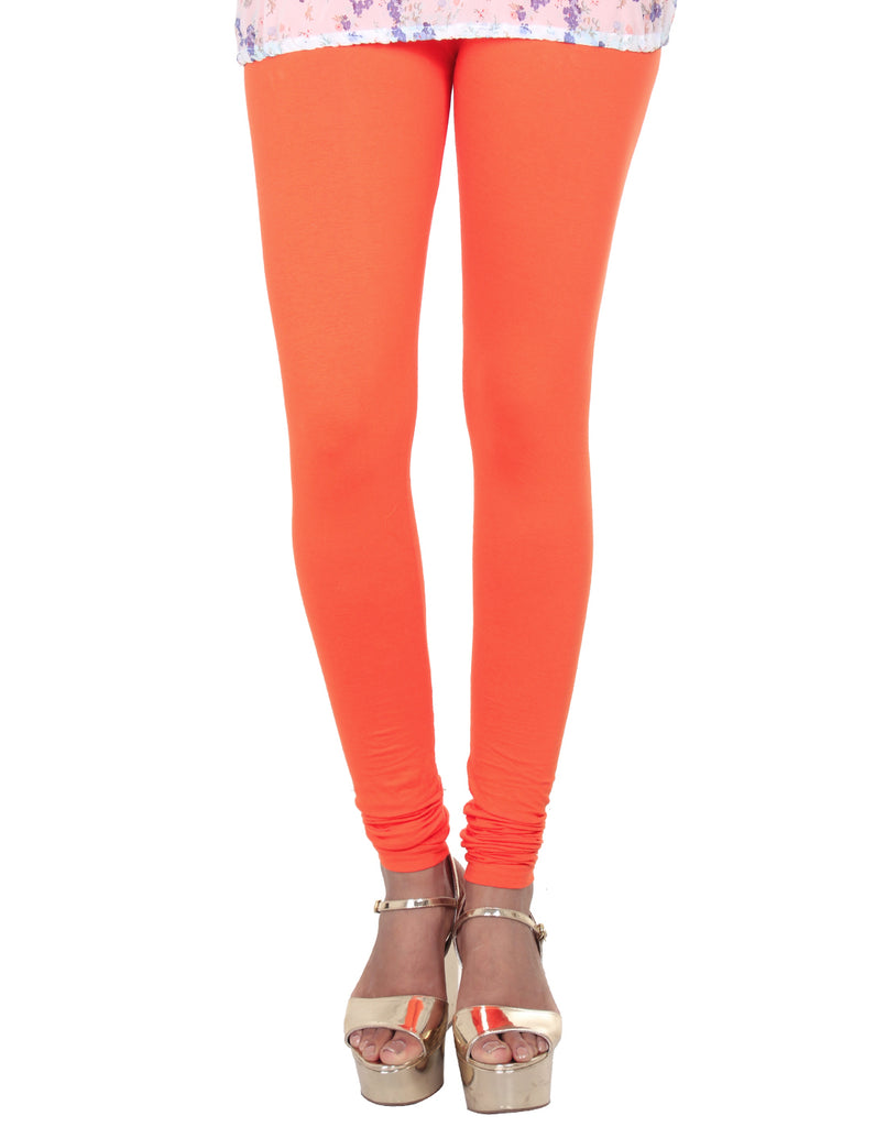 Vermillion Orange Cotton Lycra Churidhar Leggings