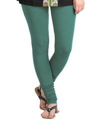 Porcelain Green Cotton Lycra Churidhar Leggings