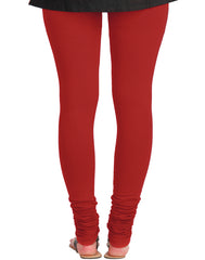 Tomato Red Cotton Lycra Churidhar Leggings