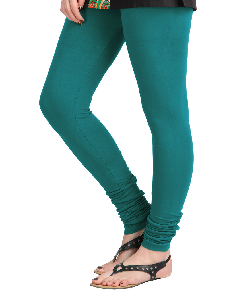 Deep Lake Cotton Lycra Churidhar Leggings