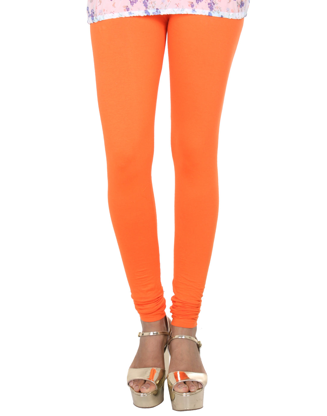 Orange Popsicle Cotton Lycra Churidhar Leggings
