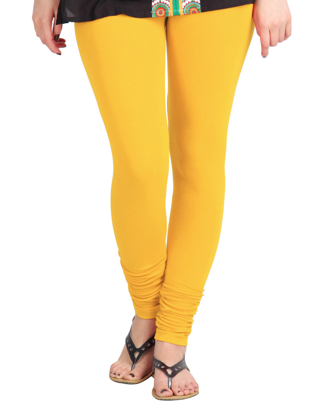 Lemon Chrome Cotton Lycra Churidhar Leggings