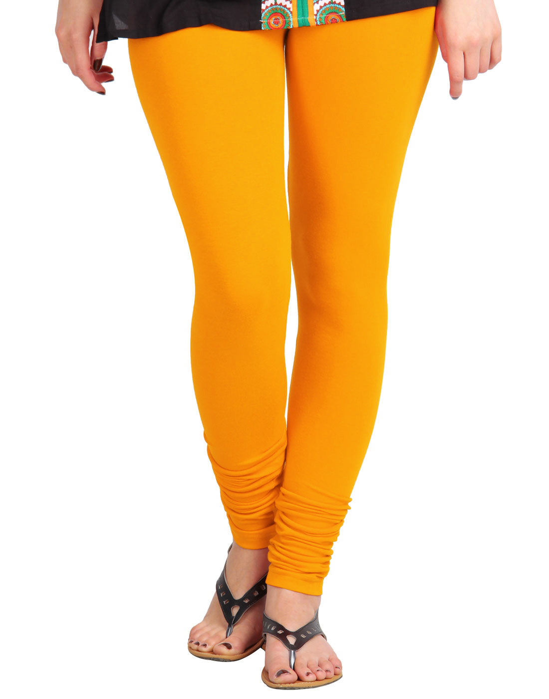 Zinnia Yellow Cotton Lycra Churidhar Leggings