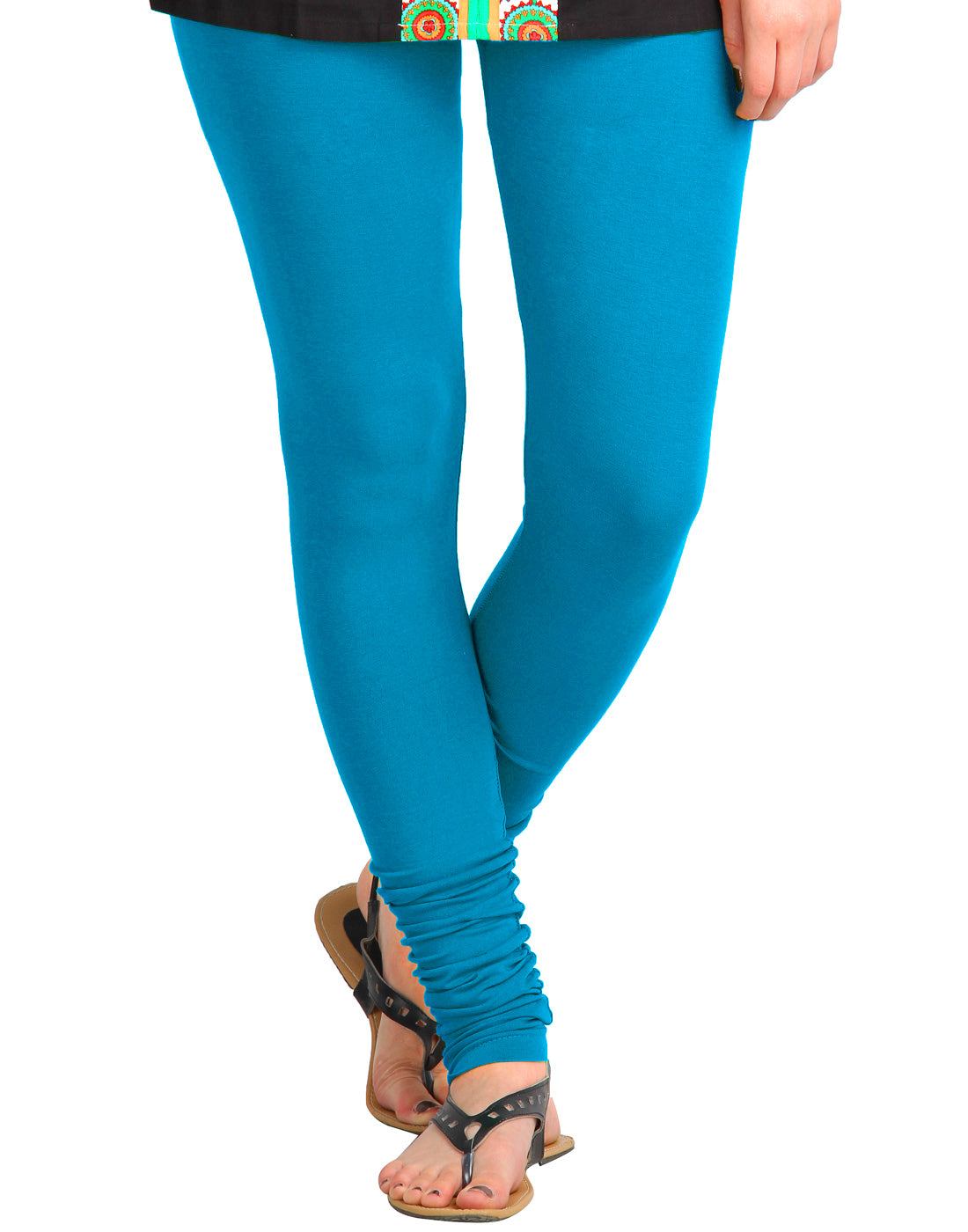 Blue Jewel Cotton Lycra Churidhar Leggings