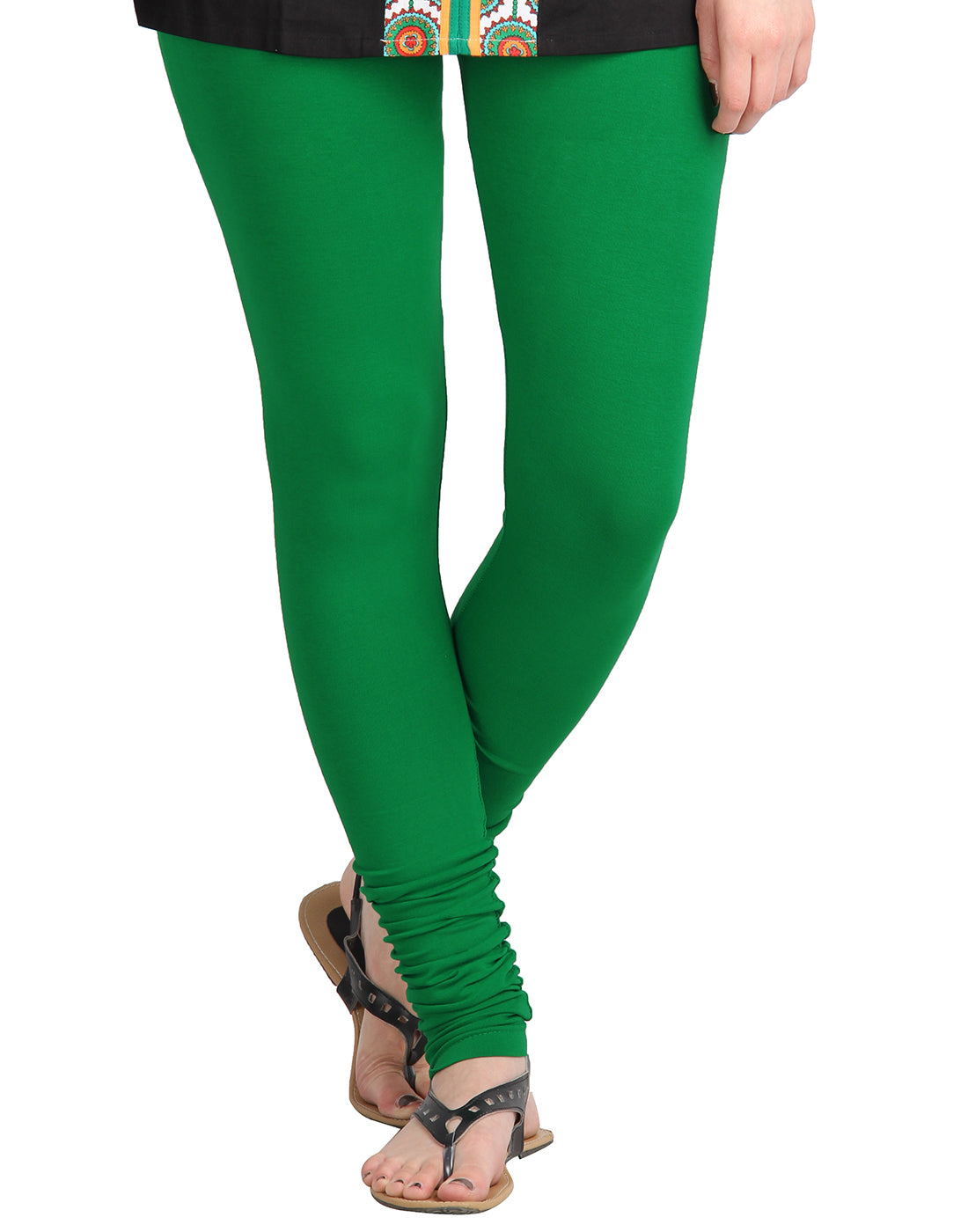 Fern Green Cotton Lycra Churidhar Leggings