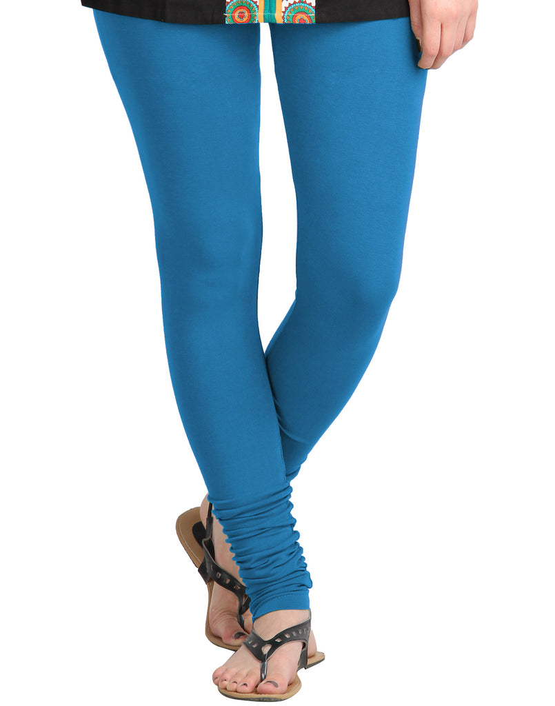 Dresden Blue Cotton Lycra Churidhar Leggings