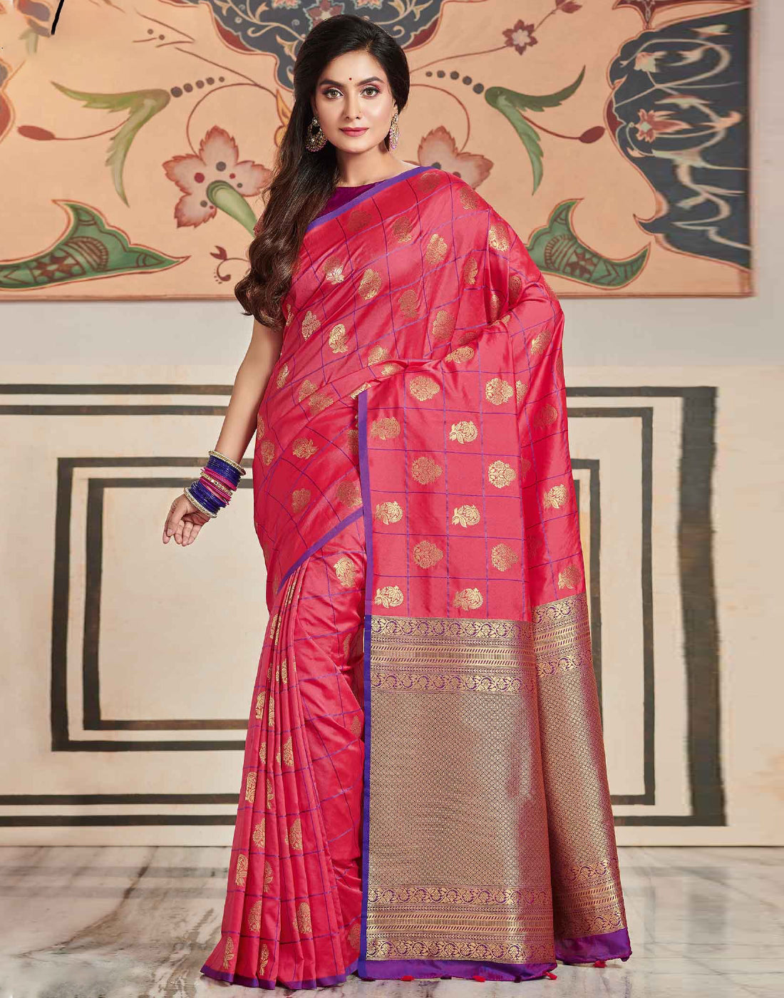 Exclusive Kanchi Soft Silk Checks Pink Saree With Contrast Purple Blouse
