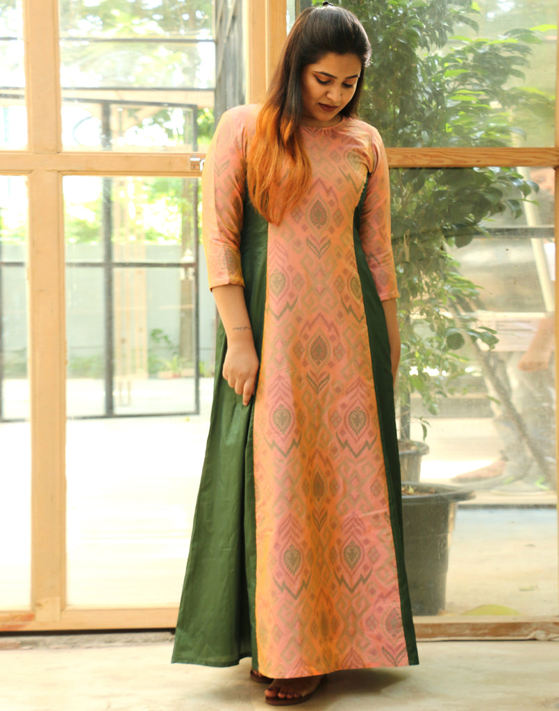 Nylah Pastel Pink n Green Long Princess Patola Dress