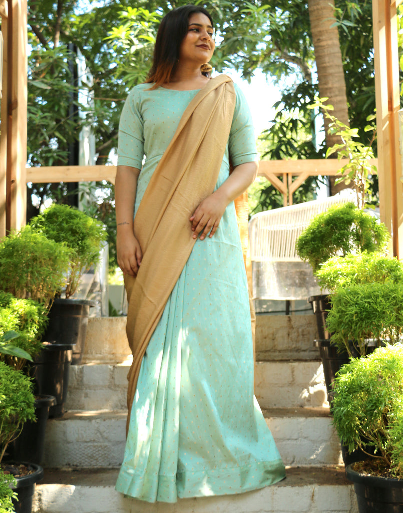 Anika Pastel Blue saree dress