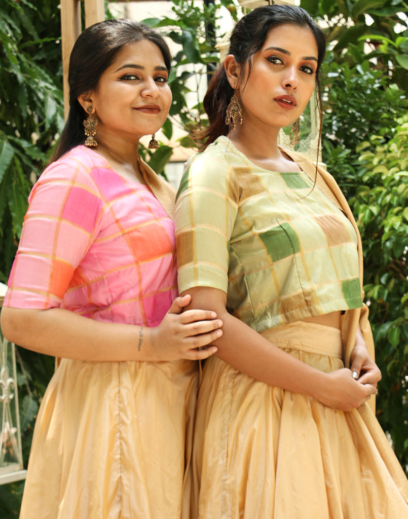 Iniya skirt and Checkered blouse green set