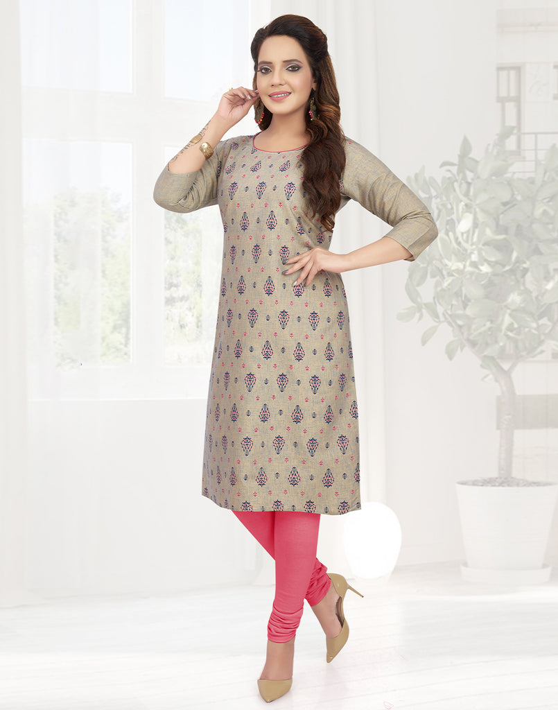 Varaagk Casual Beige Printed Cotton Kurti