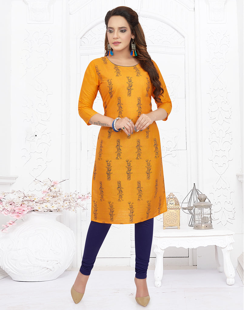 Varaagk Casual Yellow Printed Cotton Kurti