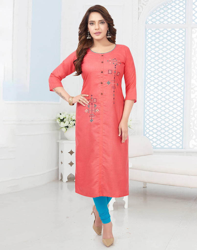 Varaagk Pink Fancy embroidered Cotton Kurthi