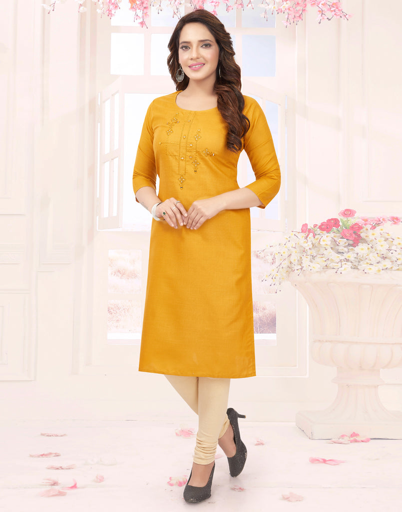 Varaagk Fancy embroidered Cotton Mustard Kurthi