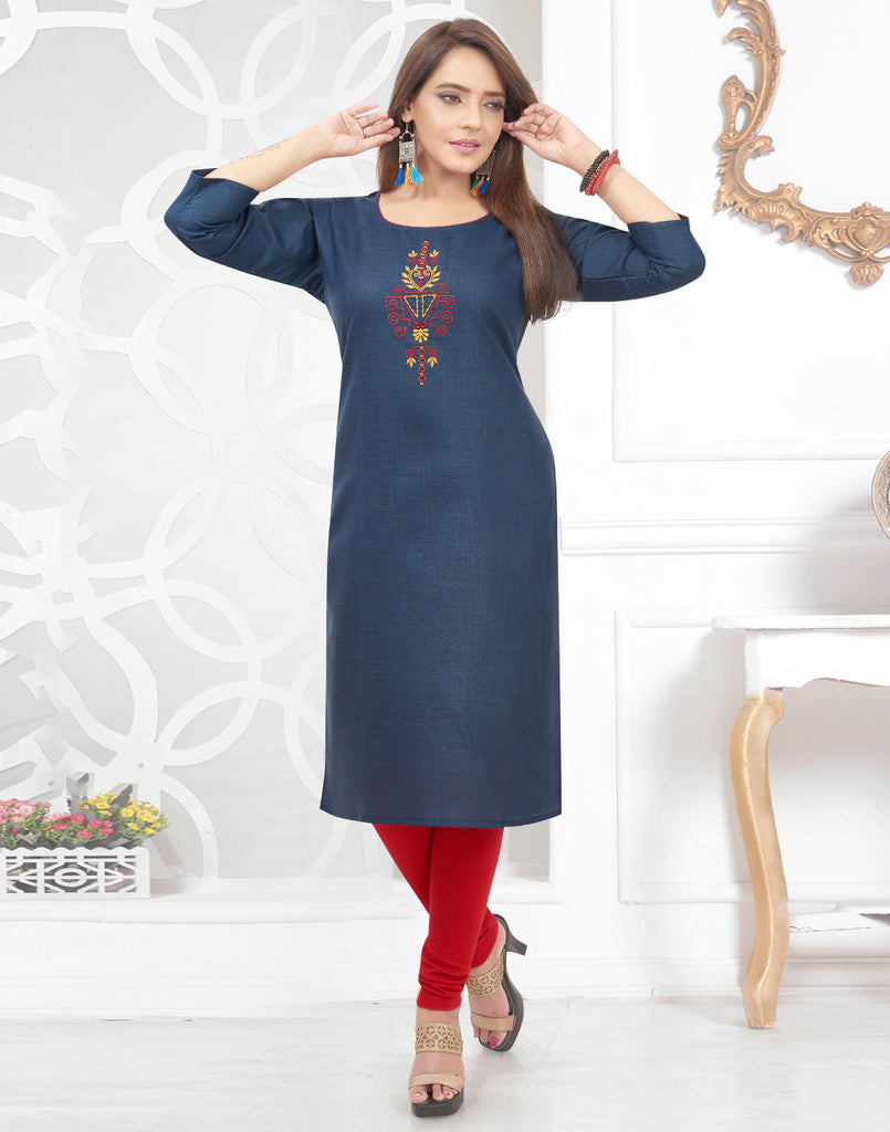 Varaagk Fancy Blue embroidered Cotton Kurthi