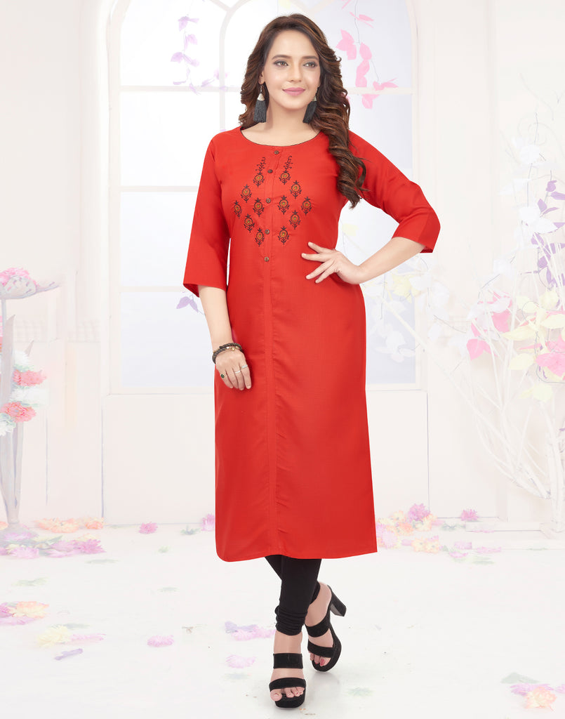 Varaagk Red Fancy embroidered Cotton Kurthi