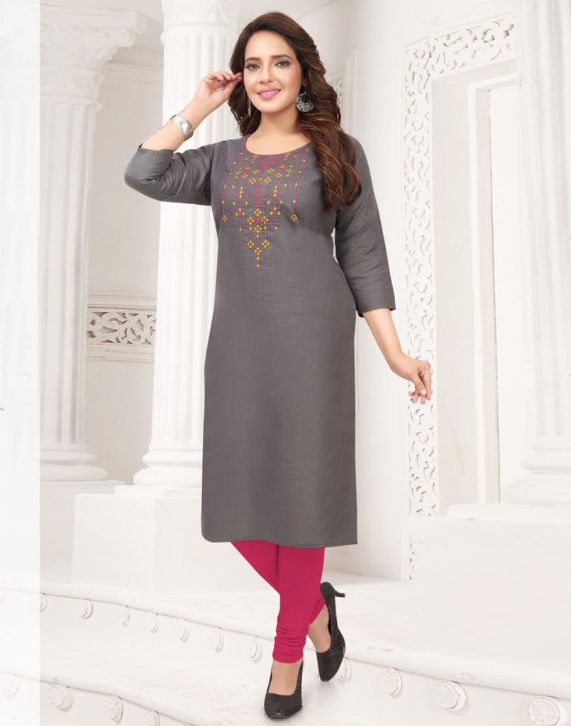 Varaagk Ash Fancy embroidered Cotton Kurthi