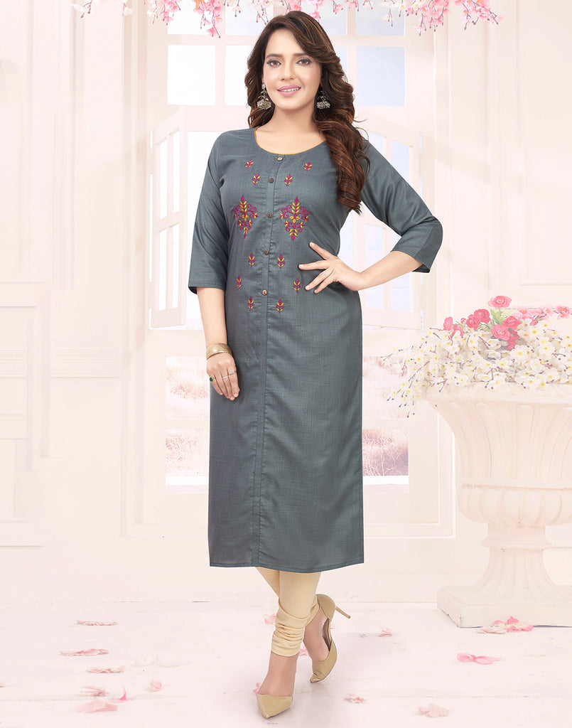 Varaagk Fancy Ash embroidered Cotton Kurthi