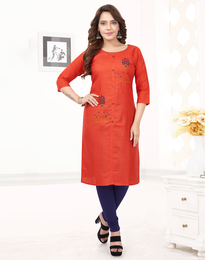 Varaagk Fancy embroidered Red Cotton Kurthi
