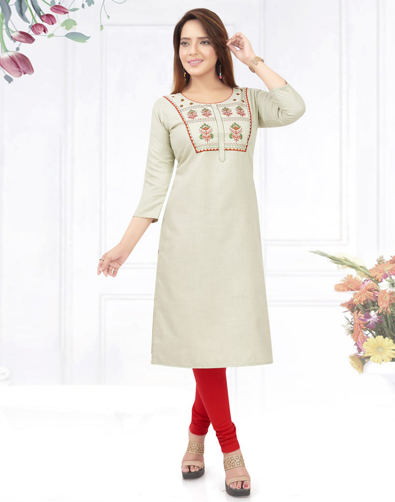 Varaagk Fancy Pearl embroidered Cotton Kurthi