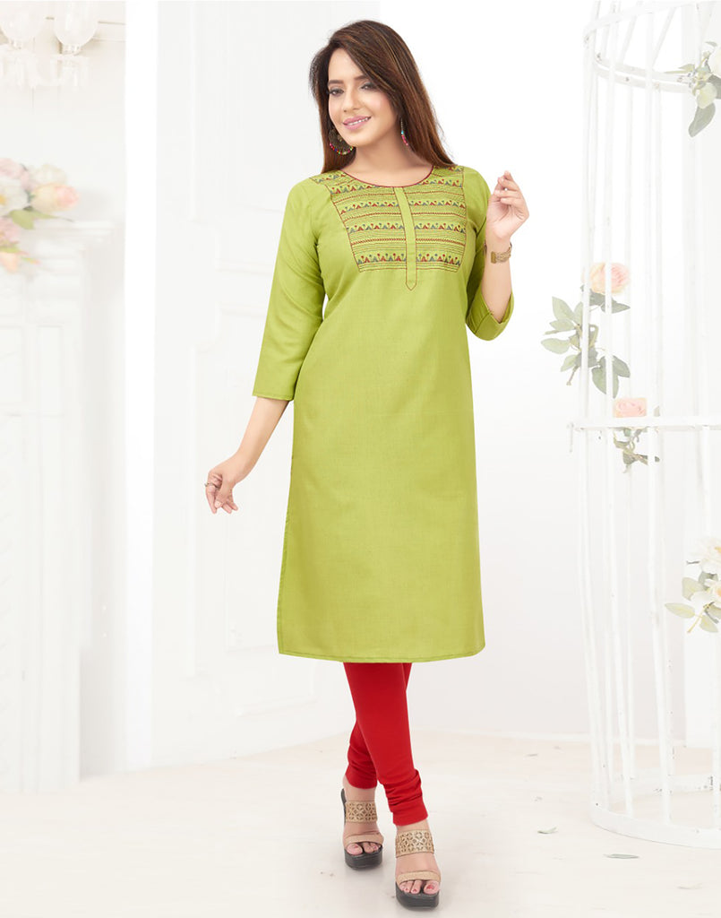 Varaagk Fancy embroidered Cotton Green Kurthi