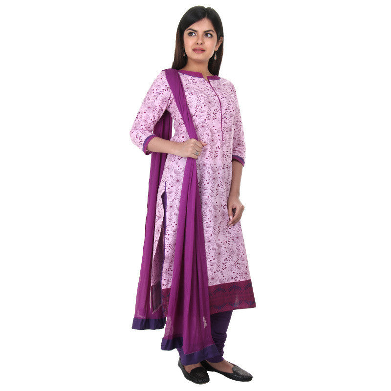 3Pce Set - Lavender Punch Printed Kurta With Chudi And Chiffon Dupatta