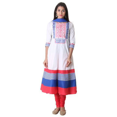 3Pce Set - Bright White Boat Neck Anarkali With Chudi And Contrast Dupatta