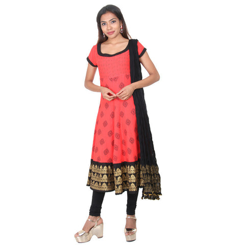 Hibiscus Red Ethnic Motif Rayon Anarkali, Matching Pant & Dupatta From eSTYLe
