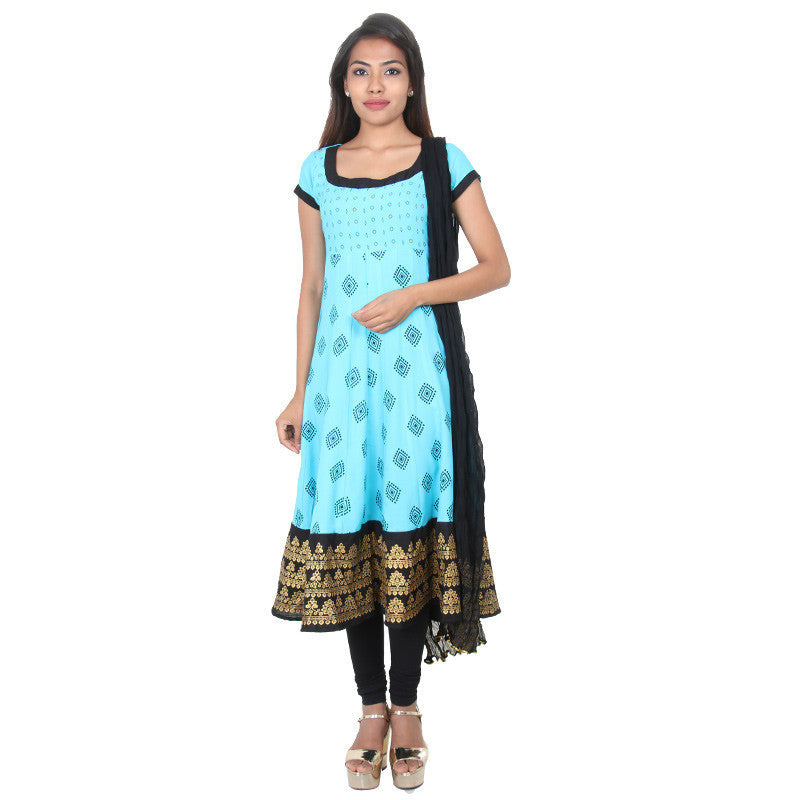 Blue Atoll Ethnic Prints Flared Anarkali, Matching Pant & Dupatta From eSTYLe
