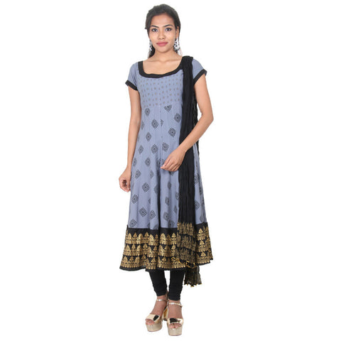 eSTYLe Lead Grey Astonishing Rayon Anarkali, Cotton Pant & Chiffon Dupatta