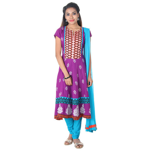 eSTYLe Purple Wine All-Over Beautiful Prints Rayon 3-Piece Salwar Suit