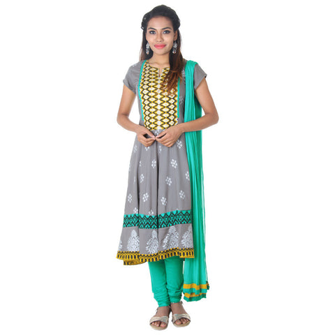 eSTYLe 3pceSuit- Rock Grey All-Over Motifs Rayon Anarkali, Pant & Chiffon Dupatta