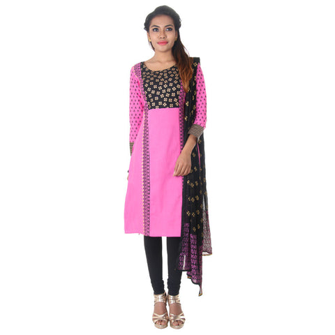 eSTYLe Azalea Pink Ethnic Motifs Cotton Kurta With Legging & Trendy Dupatta