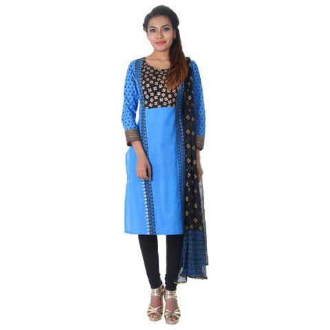 Diva Blue 3 Piece Set- Beautiful Printed Yoke With Straight-Cut Kurta From eSTYLe