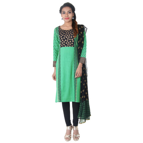 eSTYLe 3pceSuit- Holly Green Ethnic Motifs Cotton Kurta, Legging & Chiffon Dupatta