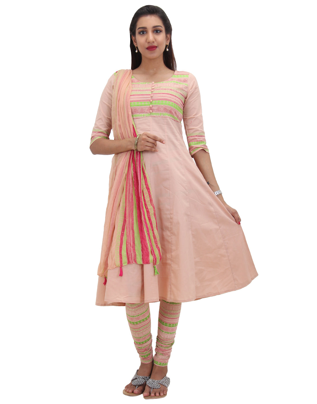 Dusty Coral Printed Cotton Salwar Suit Set