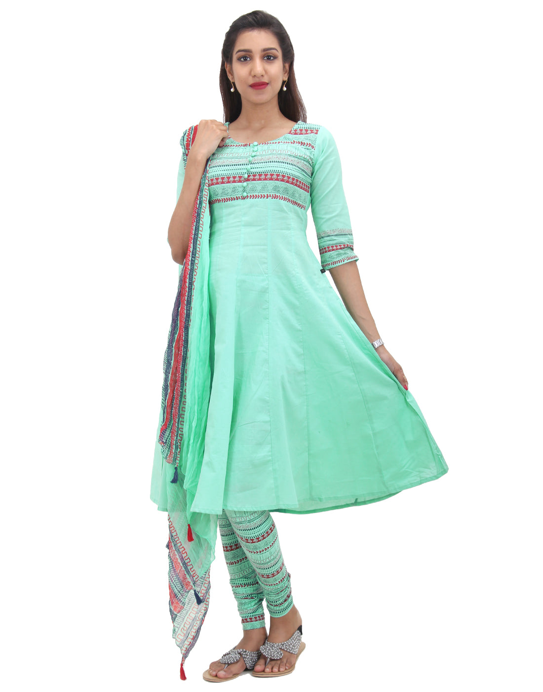 Lucite Green Printed Cotton Salwar Suit Set