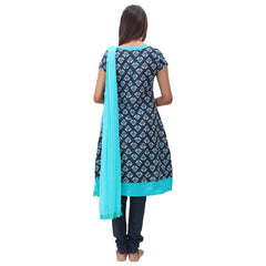 3Pce Set - Legion Blue Printed Cotton Kurta With Chudi And Chiffon Dupatta
