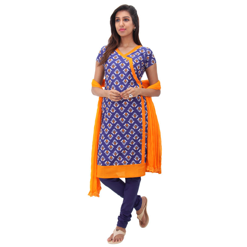3Pce Set - Mazarine Blue Printed Cotton Kurta With Chudi And Chiffon Dupatta